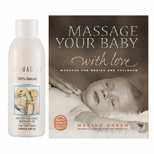 Aromababy massage oil and book